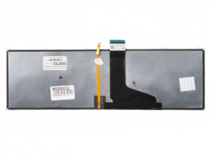 Клавиатура для ноутбука Toshiba Satellite S50, S55, S55A, S55T-A, L50D-A, L70-A, S50-A, S50D-A, S70-A, S70D-A, S70T-A, S75-A, S75D-A, S75T-A, черные кнопки, серебристая рамка, с подсветкой, гор. Enter